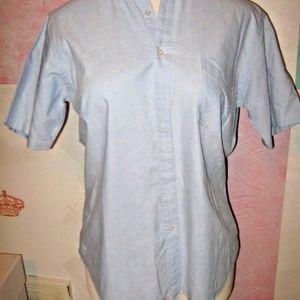 Light Blue Button Down Collar Dress Uniform Shirt